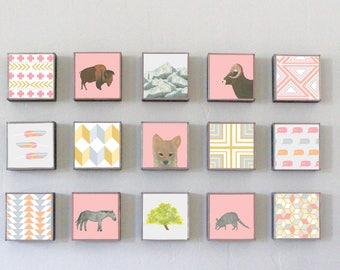 southwestern nursery Art, southwest nursery decor, animal prints, buffalo Choose (15) FIFTEEN Custom Designs 5x5 ,Nursery Art, redtilestudio