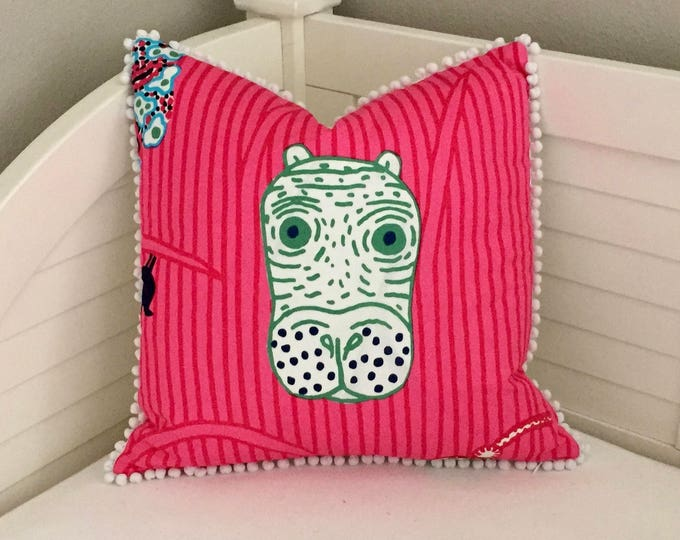 Marimekko Jungle Print in Pink Designer Pillow with Small White Pom Pom Trim, 18x18 Square Pillow, FREE SHIPPING