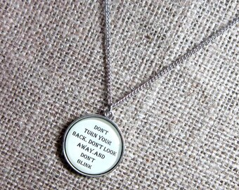 """Doctor Who quotation bronze necklace  - quote pendant  """"Don't blink ..."""" Weeping Angels"""