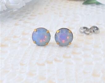 White Opal Studs, Swarovski Crystal Studs, Opal Studs, Swarovski Earrings, Iridescent Stud Earring, Round Studs, Opalescent, Pastel Studs
