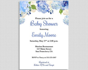 Floral Baby Shower Invitation, Blue Floral Watercolor Shower Invite, DIY PRINTABLE