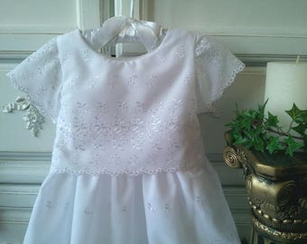 White Eyelet Lace Christening Gown and Slip, size 3 to 6 mo. Baby Girl Baptism Dress