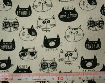 """So nice,cat,favorite - 1 yard - cotton linen - 2 colors ,Check out with code """"5YEAR"""" to save 20% off"""