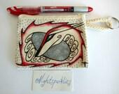 RESERVED. hand drawn coin purse, tiny art purse, textile art purse, pagan art, dragon art money purse, small purse, small storage, gift