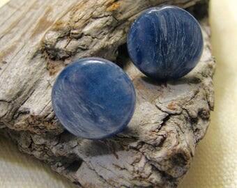 blue kyanite round post earrings