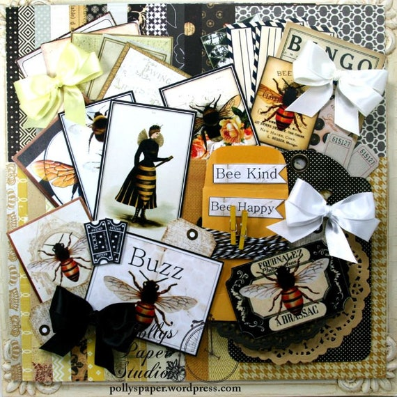 Beautiful Bees Creativity Kit 2017  67 piece Paper Ribbon Images Doilies Clothespins Twine