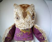 Sophie Pauline  owl  ,  soft art  creature  textile sculpture doll by Wassupbrothers, retro , bohemian buho boho, recycled, scrapper, unique