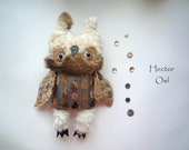 Hector  owl  , soft art textile  creature   by  Wassupbrothers, buho boho , stuffed  doll , recycled scrappy travel companion , faux fur