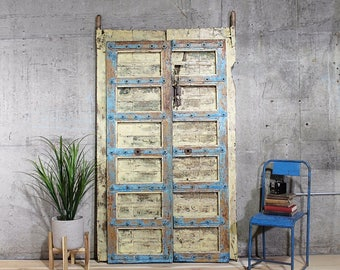 Antique Indian Door Set Moroccan Decor Teak Wood Haveli Doors Architectural Salvage Moorish DoorsYellow and Blue