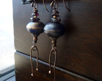 Peacock Blue Patina Roundels with Red Garnet and Droplet Fringes Earrings, Rustic, Bohemian, Statement, Boho Chic, Long Earrings, Chandelier