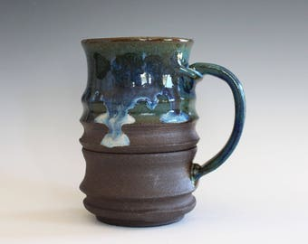 Pottery Mug, 17 oz, handmade ceramic cup, handthrown mug, ceramic stoneware, pottery mug, unique coffee mug, ceramics and pottery
