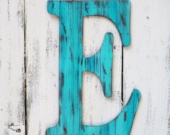 """ON SALE 24"""" Ex Large Letter ~ Turquoise Faux Wood Plank Finish~Letters A~Z"""