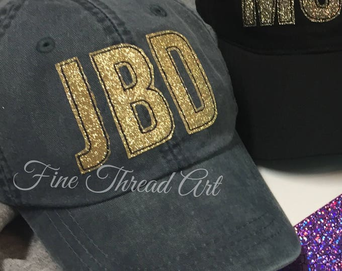 Featured listing image: LADIES Gold Glitter Applique Monogram Initials Mrs. Wedding Baseball Cap Hat LEATHER strap Beach Girls Trip Pigment Dye