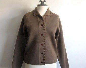 50OFF Event Vintage 1970s Knit Cardigan Cocoa Brown Wool Knit Wear 70s Sweater Medium