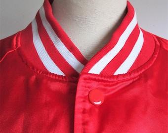 Vintage 90s Trimark Sport Jacket Red Satin Chalk Line 1990s Casual Sport Snap Windbreaker XL