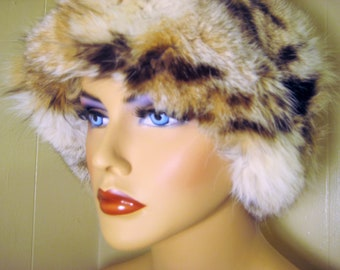 "Vintage Rabbit Fur Chapeau ""Fashions by Joan"", Winter Skull Cap, Ski Wear, Snow Hat, Black/Brown/Beige"