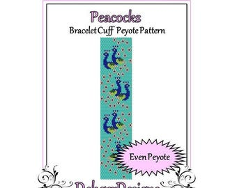 Bead Pattern Peyote(Bracelet Cuff)-Peacocks
