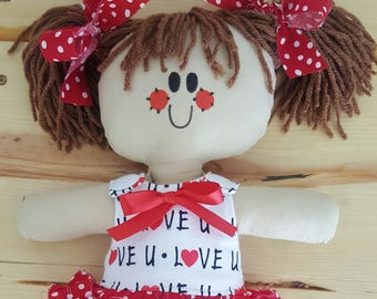 "LillieGiggles Brown Baby Rag doll named I Love You This Much 12"" cloth rag doll"