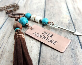 Seek Adventure Necklace - Long Charm Necklace - Boho Jewelry - Tassel Necklace - Wanderlust - Arrow Charm - Stamped Jewelry