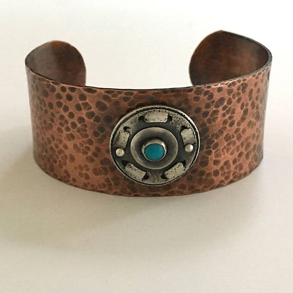 Copper Turquoise Cuff | Sleeping Beauty Turquoise | Arts and Crafts Mission Style