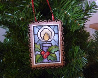 Stain Glass Christmas Candle, Hand Stitched Christmas Ornament