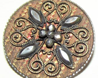 Antique Button ~ Large Metal Steel Cup Button ~ Tinted Metal Button Cut Steels and Filigree