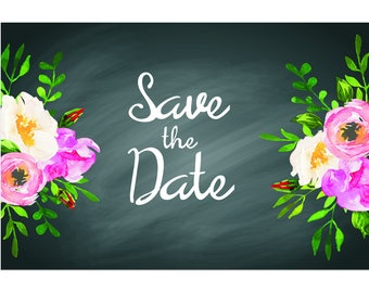 """Chalkboard Floral - Wedding Save The Date Postcards - 4""""x6"""""""