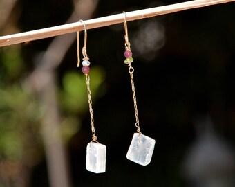 Delicate Selenite Earrings. Gold Filled Stone Earrings. Gold Filled Jewelry Long Chain Earrings Dainty Earrings Made in Israel Free Shipping