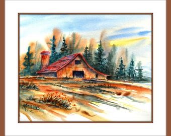 Watercolor of Rustic Barn, Field, Trees by Colorado Artist Martha Kisling