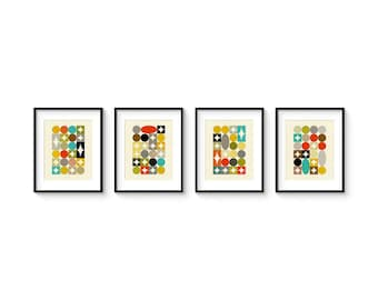 PALETTE 8x10 Format - Collection of (4) Giclee Prints - Mid Century Modern Danish Modern