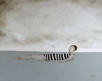 """Girl in sea swimming ocean wall art/woman figure art giclee print/large wall art """"California""""/11x14  (in odds and ends sale section)"""