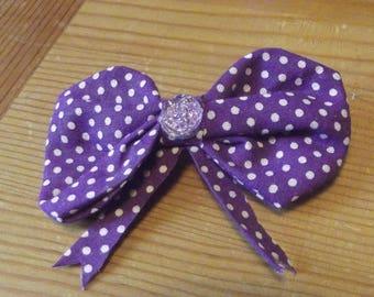 Purple Polkadot Hair Bow Accessory Hair Clip Barrette