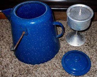 Vintage Blue Speckled Enamelware Coffee Pot w/ Percolator- Cowboy Coffee Pot - Camping - Blue Coffee Pot - Farmhouse Decor