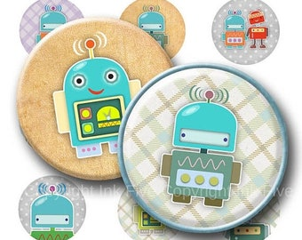 Robots 2.5 inch circles images. Digital Collage Sheet. Rounds for pocket mirrors, decorations, cupcake toppers.  Printable images for boys.