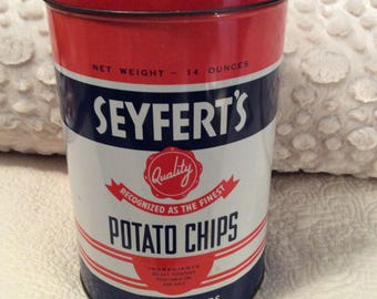 Vintage Seyfert's Potato Chip Tin Container 1960s American Advertising Large
