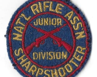 Vintage Mid Century NRA Junior Division Sharpshooter Patch