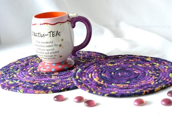 Rustic Purple Place Mats, 2 Handmade Fabric Hot Pads, Artisan Boho Mug Rugs, Violet Batik Table Toppers, Purple Potholders