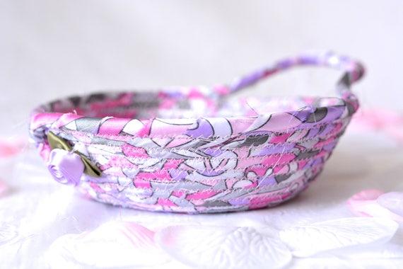 Mother's Day Gift Basket, Modern Violet Dish, Handmade Fabric Basket, Pink Sateen Basket, Artisan Quilted Fiber Bowl, Cute Desk Accessory