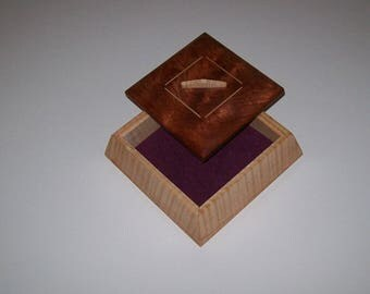 Fiddle Back Maple and Bubinga Trapezoid Box Wooden box handcrafted from musical grade fiddle back maple.