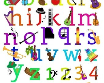 BACK TO SCHOOL Sale Music Alphabet Clipart Clip Art, Musical Instruments Letters Font, Lowercase and Numbers - Commercial and Personal Use