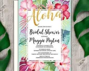 Tropical Floral Hibiscus Luau Bridal Shower Invitation, Hawaiian Bridal Shower, Aloha Bridal Shower Printable Invitation