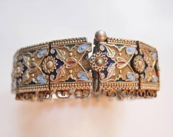 Vintage Turkish Bracelet Caucasian Style Enamel and Silver Turkish Jewelry