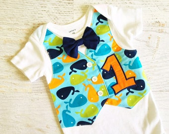 REAYD TO SHIP Size 18 Months Short Sleeve Little Whale First Birthday Tuxedo Bodysuit Vest with Removable Bow Tie