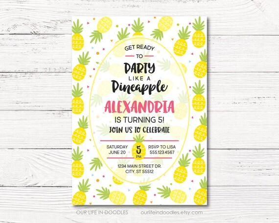 pineapple invitation pineapple birthday party invitation hawaii