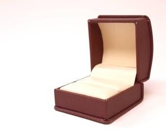 Burgandy Leatherette Ring Box, Engagement Ring Box, Ring Gift Box, Ring Bearer Box, Ring Holder, Wedding Ring Box, Proposal Ring Box B014