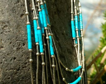 Vintage Navajo Sun Marked Liquid Sterling Silver Necklace, Native American Jewelry, Turquoise,Tribal, Pow Wow, Aztec, Regalia. Western, Blue