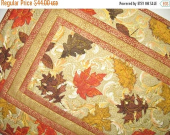 Sale Christmas in July Autumn Table Runner, leaves. quilted, handmade, elegant, table topper, Door Hanger, Wall art