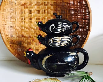Midcentury Redware Stacking Roosters