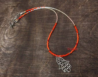 "Beaded Boho Necklace Red Orange White Ombre Hamsa Necklace Hippie Choker 16"" Red Bead Necklace Dainty Necklace"