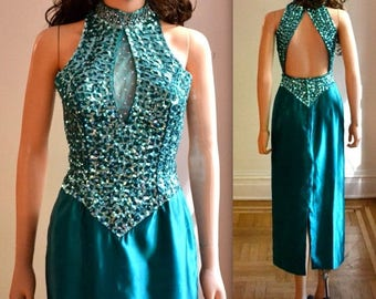 SALE 80s Prom Dress Size Small Sequin Gown By Mike Benet Blue Green// 80s Evening Gown Pageant Dress with Sequins and Rhinestones size Small
